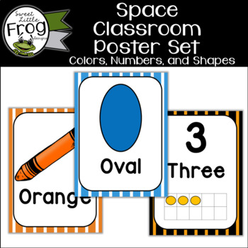 Space Classroom Colors Numbers and Shapes Posters
