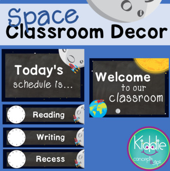 Space Classroom Decor - Welcome Sign and Schedule Cards