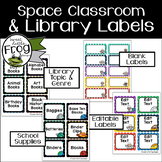 Space Classroom Supplies and Library Labels - Editable