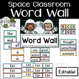 Space Classroom Word Wall with Fry Top 300 Words - Editable