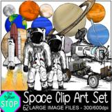 Space Clip Art Set Solar System, Astronaut, Lunar Base, Ro