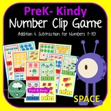 Space Clip Card Game Addition and Subtraction Printable Preschool K-2 Numbers
