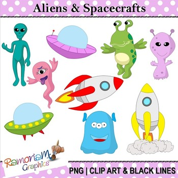 Aliens in Space Clip art