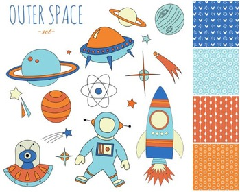 Space Clipart, Astronaut, Planets, Spaceship, Outer Space Set #221
