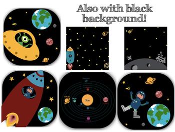 Space Clipart, Frames, Digital Paper & Black & White Images!