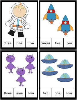 Space Clothespin Task Card Number Activity