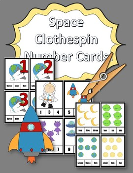 Clothespin Task Card Number Activity - Space