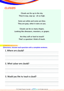 Space - Clouds (I) - Grade 1 (with 'Triple-Track Writing Lines')
