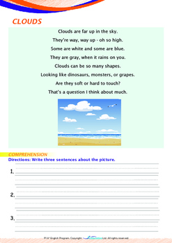Space - Clouds (II) - Grade 1 (with 'Triple-Track Writing Lines')