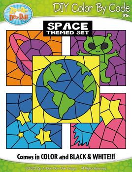 Space Color By Code Clipart {Zip-A-Dee-Doo-Dah Designs}