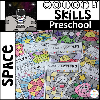 Space Color by Code Math and Literacy Skills for Preschool