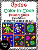Space Color by Code Sight Words