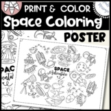 """Space Coloring Sheet /  18"""" x 24"""" / Poster"""