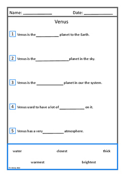 Solar System Space Comprehension Flashcards and Worksheets , Autism