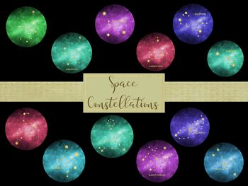 Space Constellations Full pack, High Resolution 300ppi, Separate PNG Files.