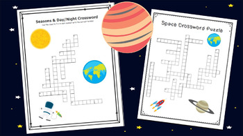 Space Crossword Bundle-Planets, Seasons, Stars, Moon Phases, and Cycles