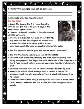 Space FREEBIE! Possible Interactive Notebook Activity