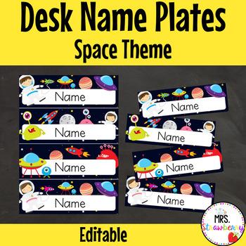 Space Desk Name Plates | Labels **Editable**