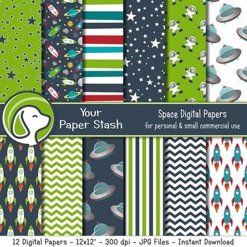 Space Digital Paper Backgrounds, Galaxy, Small Commercial Use, Scrapbook Paper