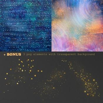 Space Digital Paper, Star Night Sky, Galaxy