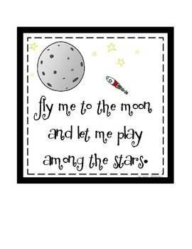 Space Digital Print: Fly Me to the Moon
