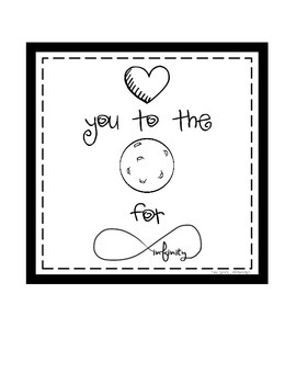 Space Digital Print: Love you the Moon for Infinity