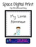 Space Digital Print: My Little Astronaut (boy & puppy)