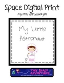 Space Digital Print: My Little Astronaut (girl & bunny)