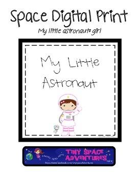 Space Digital Print: My Little Astronaut (girl & bunny)