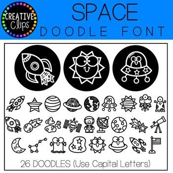 Space Doodle FONT {Creative Clips Clipart}