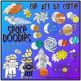 Space Doodles digital clip art combo (BW & color PNG)