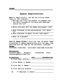 Space- Earth Science Internet Activity Worksheets w/ Answer Key