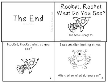 "Space Emergent Reader ""Rocket, Rocket What Do You See?"" K-1 Mini Book"