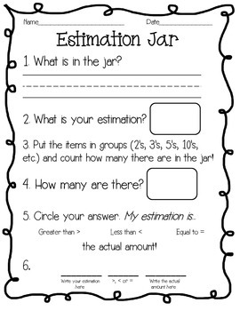 Space Estimation Jar Greater Than/Less Than Skip Counting Math Centers Set