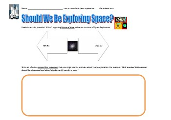 Space Exploration: Cost vs. Benefits Graphic Organizer