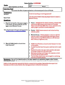 Space Exploration and Florida Cornell Notes