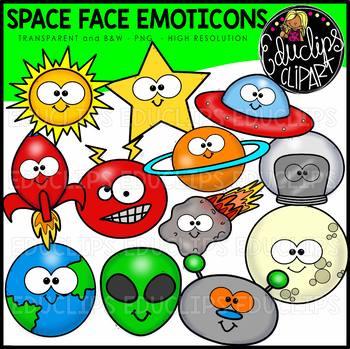 Space Face Emoticons Clip Art Bundle {Educlips Clipart}