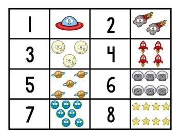 Space Face Number Matching Game for Preschool, Prek, and Kindergarten