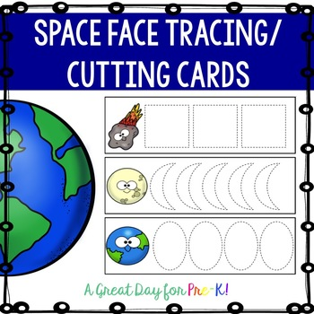 Space Face Tracer/Cutting Cards for Preschool, Prek, and Kindergarten