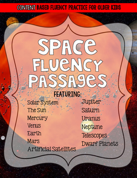 Outer Space Solar System Reading Fluency and Comprehension Passages