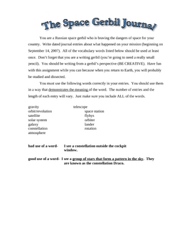 Space Gerbil Journal - Vocabulary/Writing Assignment