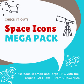 Space Icons Mega Pack 40 Images with Transparent Background