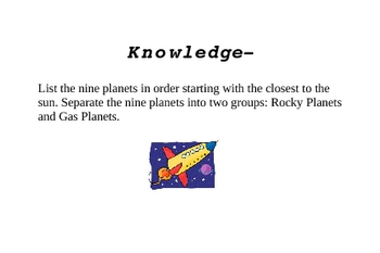 Space Investigative Cards (Blooms Taxonomy)