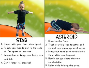 space kids yoga cards and printables  tpt