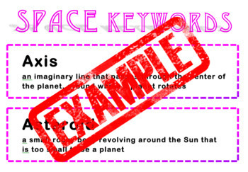 Space Keywords with Word Wall Cutouts (with & without definitions)