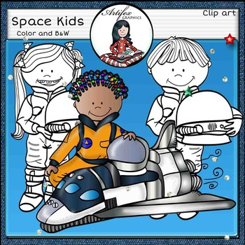 Space Kids. Astronaut clip art. Color and B&W
