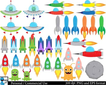 Space Kids Digital Clip Art Graphics Personal, Commercial Use 107 images cod175
