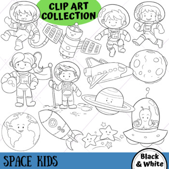 Space Kids Science Clip Art (BLACK AND WHITE ONLY)