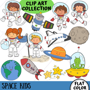 Space Kids Science Clip Art (FLAT COLOR ONLY)