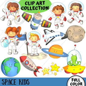 Space Kids Science Clip Art (FULL COLOR ONLY)